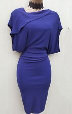 Karen Millen Purple Drape Jersey Bodycon Dress UK 10 Office Evening Cocktail
