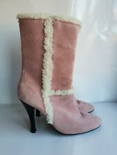 Via Uno Woman's Suede Ankle Boots Shoes Pink Fur Details Heel Winter UK 6/39