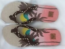 Kukui Womens Size 10M Textile Fabric Palm Tree Flip Flops
