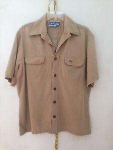 Vintage OP Ocean Pacific Short Sleeve Camp Shirt Button Up Beige Khaki 70's L