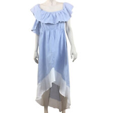 ASOS XL Blue White Striped Cotton Dress Ruffle High Low Sleeveless