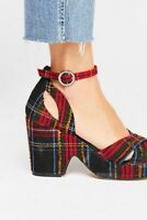 Free People NIB Addison Plaid Platform Heels Size 38 US 8 NEW Shoes