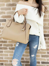 Michael Kors Kimberly Large East West Satchel Bag Dark Khaki Leather