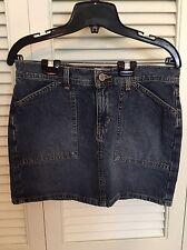 Calvin Klein SKIRT denim jean size 7 Skinny Mini Worker Skirt Dark Sandblast EUC