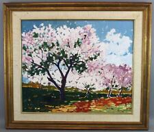 Vintage Signed Russian Impressionist Cherry Blossom Landscape Oil Painting