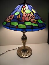 """Blue Tiffany Style Stained Glass Resin Table Lamp 13"""" Water Lily Flowers, Lion"""