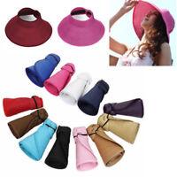 Summer Women Wide Brim Straw Visor Hat Roll Up Foldable Floppy Beach Sun Cap NEW