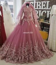 Muslim High Neck Long Sleeve Wedding Dresses custom size 2-4-20-22+