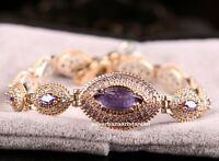 Turkish Handmade 925 Sterling Silver Purple Amethyst Stone Lady Woman Bracelet 0