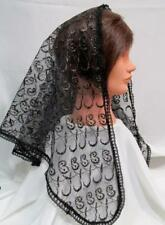 MANTILLA VEIL BLACK/GOLD HEAD COVERING MASS LATIN CHAPEL CHURCH CATHOLIC  35