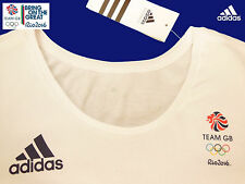 ADIDAS TEAM GB RIO 2016 ELITE ATHLETE WHITE CAP SLEEVE TEE SHIRT Size 16
