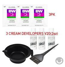CLAIROL (3LOT) BW2 Powder Lightener 1oz + Creme Developer 20V 2oz +Bowl + Brush
