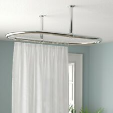Oval Bathroom Ceiling Mounted Shower Curtain Rail 1150 x 640 MM