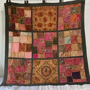 Pier One Tab Top Wall Hanging Warm Colors Sari Beads Sequins Embroidery 44x44