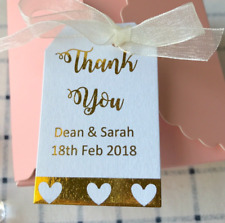 16x Thank You Gold Foil Favour Tags Personalised Wedding Baby Shower Gift Labels