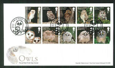 2018 FDC - Owls Set of 10  -Owls Road Verwood Postmark sent post free