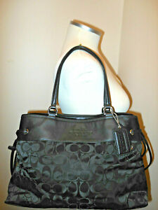 Coach Womens Signature Nylon Leather Drawstring Satchel Black Large 32702