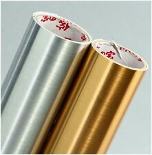 GOLD SIVER SELF ADHESIVE VINYL ROLL CUTTING FOIL FILM GLOSS BRUSHED SIGN