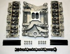 OLDSMOBILE ALUMINUM HEADS AND AIR GAP INTAKE COMPLETE ULTIMATE TOP END KIT 400,4