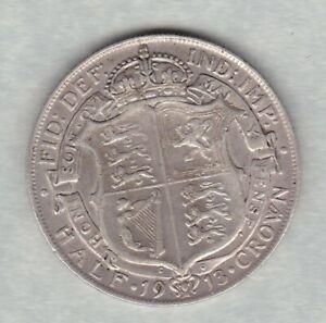 1913 GEORGE V SILVER HALF CROWN IN VERY FINE CONDITION