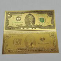 UNC 24K Gold 10pcs USD 2 dollar Foil Golden Paper Money Banknotes Crafts toy FE