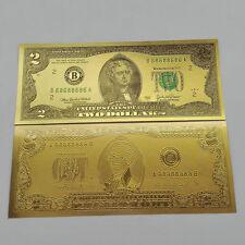1 Pcs Usd$ 2 dollar 24K Gold Foil Golden Paper Money Banknotes Crafts Unc Fe