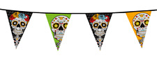 Halloween Day Of The Dead Sugar Skull Flag Banner Bunting Decoration 10m
