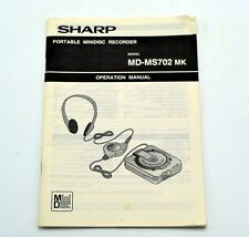 Sharp Portable MiniDisc Recorder Md-Ms702 Operation Manual Booklet