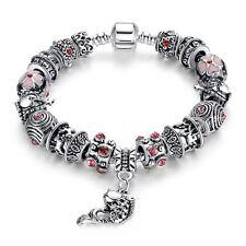 925 Silber Armband 20 cm Rosa Bead Bettelarmband Charms Tibet 17 Stück in 1 NEU
