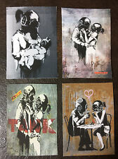 Banksy Four ACEOs graffiti street art on Canvas - Think Tank