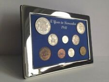 More details for 80th birthday gift. a superb 1941, silver framed, coin year set - gift boxed