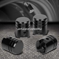4 X ALUMINUM PISTON TIRE/RIM VALVE/WHEEL AIR PORT DUST COVER STEM CAP/CAPS BLACK