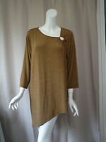 NWT New Travelers by Chioco's Brown 3/4 Sleeve Tunic Top size 3