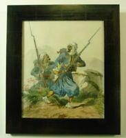 """Armin Engert """"Zwei arabische Soldaten mit Gewehren"""" Aquarell, signiert, 1863"""