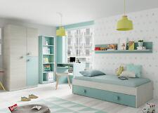 Pack muebles dormitorio juvenil color verde y blanco 2 somieres incluidos 90x190