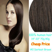 """14""""-22"""" Clip In 100% Remy Real Human Hair Extension 2# Dark Brown Straight Hair"""