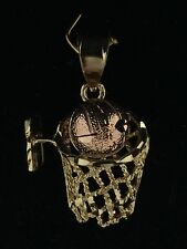 14K Solid Two-Tone Rose & Yellow Gold Basketball and Net Charm Pendant 3 grams