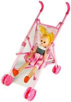 DOLL BUGGY Pram Pushchair Stroller Toy Baby Kids Girls Birthday Gift Random #ZH