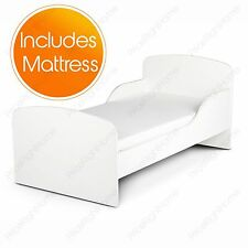 PLAIN WHITE MDF TODDLER BED + MATTRESS NEW KIDS BEDROOM