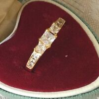 Vintage Jewellery Gold Ring with White Sapphires Antique Deco Jewelry size 9 S