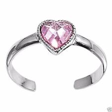 Silver 925 Best Price Jewelry Pink Usa Seller Heart Toe Ring Sterling