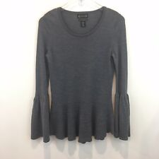 Nanette Lepore Womens Peplum Sweater Sz M Gray Bell Sleeves Fine Merino Wool