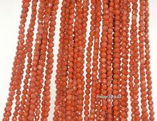 """3MM BRICK RED JASPER GEMSTONE RED FACETED ROUND 3MM LOOSE BEADS 15.5"""""""