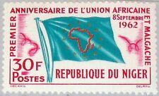 NIGER 1962 28 112 African Malgache Union Map Karte Flag Flagge UAM MNH