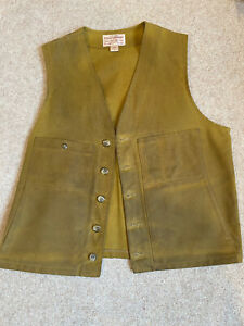 Filson Tin Cloth Waistcoat Vest Gilet Tan Chore Hunting Workwear Size 44 Large