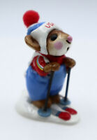 Wee Forest Folk USA Skier Mouse Figurine Red Knot MS-09 Retired 1979 WWF