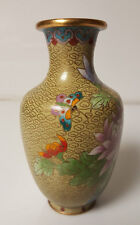 """Cloisonne Vase Yellow with pink floral pattern Beautiful Butterfly 6"""""""