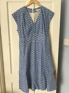 Boden blue and white dress 12R