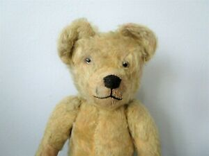 Antique Teddy Bear Golden Mohair Glass Eyes Hand Stitched Nose Mouth 1900s Toys