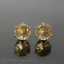 GORGEOUS LARGE 8MM CZ AMBER ORANGE YELLOW GOLD PLATED ROUND EARRINGS STUDS